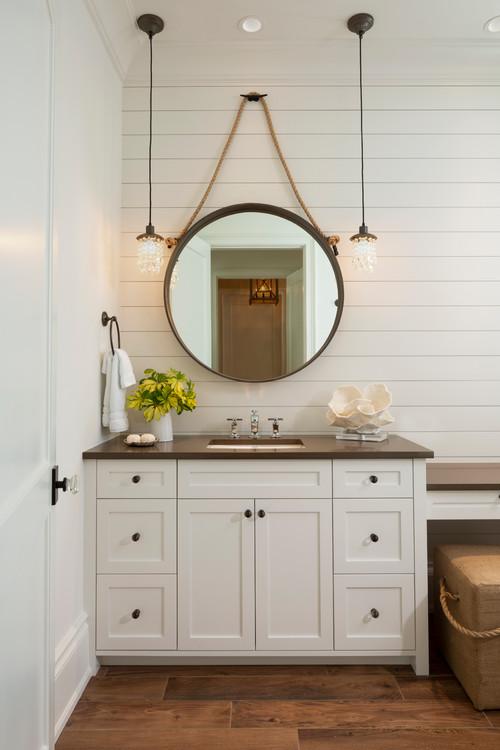 Modern Farmhouse Bathroom with White Shiplap Wall