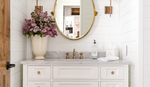 Modern Farmhouse Bathroom with White Shiplap Walls