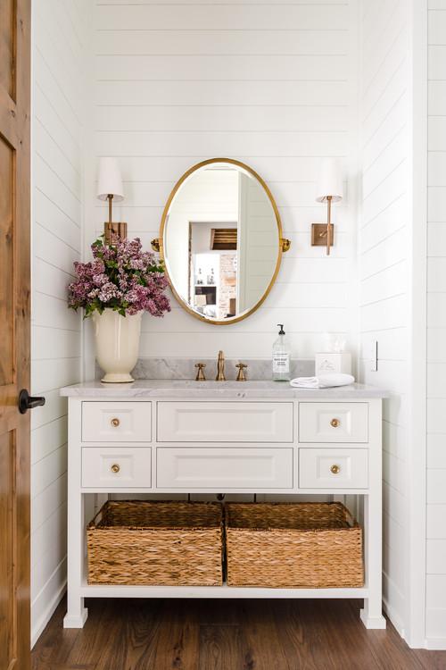 Modern Farmhouse Bathroom with White Shiplap Walls