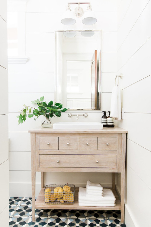 Modern Farmhouse Bathroom with Wide Plank White Shiplap Walls