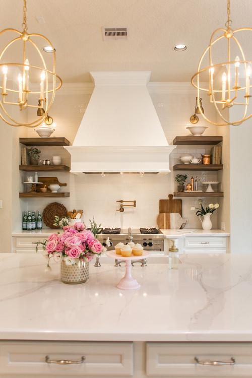 Modern Farmhouse Kitchen Lighting Ideas with Brass Orb Pendant Lights