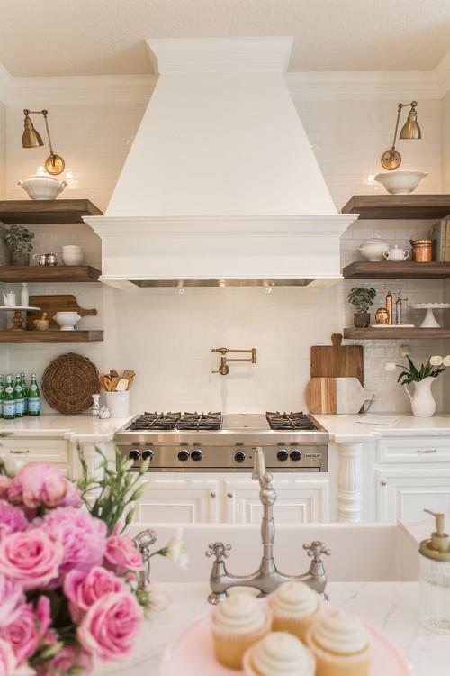 Modern Farmhouse Kitchen with Brass Wall Mount Light Fixtures