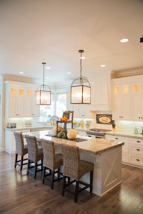 Modern Farmhouse Kitchen with Hanging Glass Lanterns