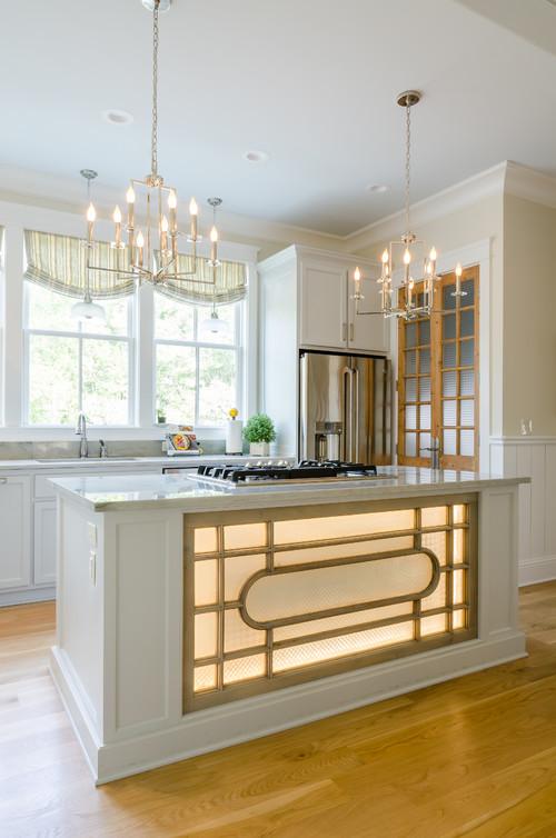 Modern Farmhouse Kitchen with Lighted Kitchen Island