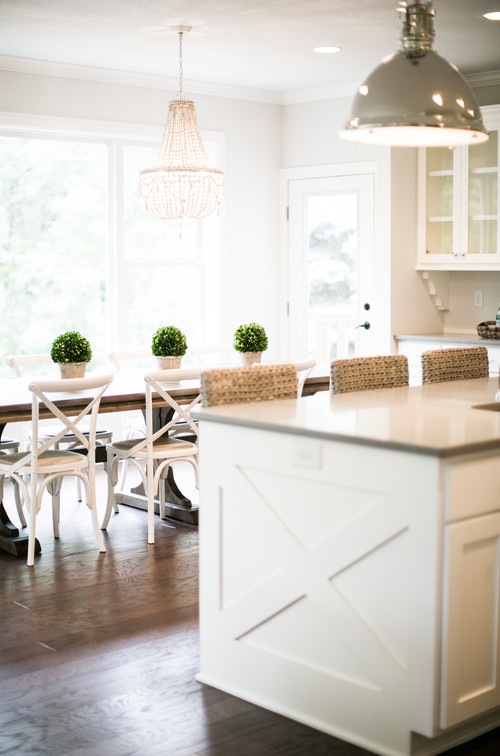 Modern Farmhouse Kitchen with Polished-Nickel Pendant Light Over X-Style Kitchen Island