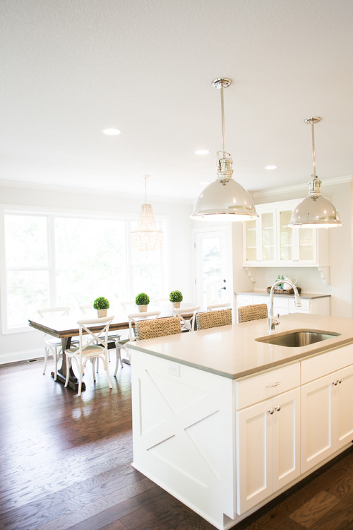 Modern Farmhouse Kitchen with Polished Nickel Pendant Lights