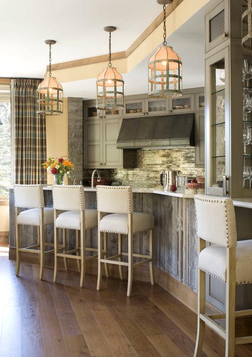 Modern Farmhouse Kitchen with Rustic Iron Pendant Lights