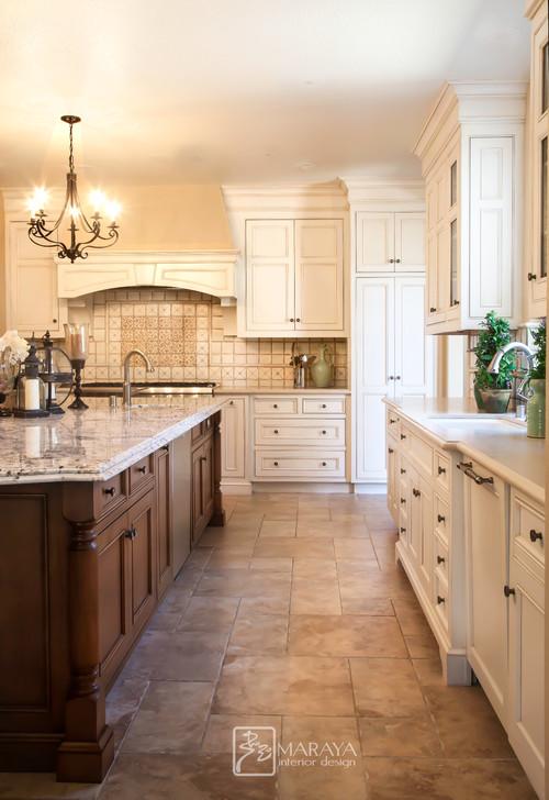 Modern Farmhouse Kitchen with Wrought Iron Chandelier