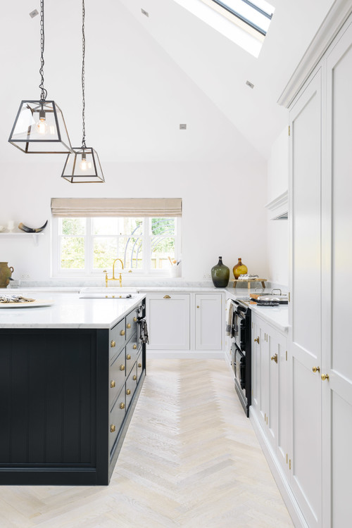 Modern Farmhouse White Kitchen with Black Kitchen Island and Black Vintage Style Range