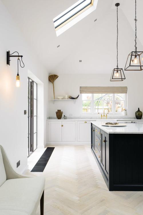 Modern Farmhouse White Kitchen with Black Kitchen Island