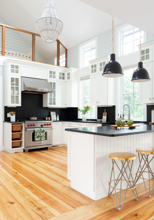Modern Farmhouse White Kitchen with Black Walls, Countertops and Black Pendant Lights