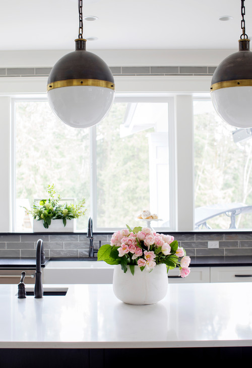 Modern Farmhouse White Kitchen with Black and White Globe Pendant Lights