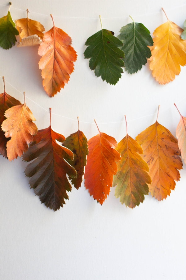 These DIY fall garlands are cheap and easy. You just need string and leaves from your yard