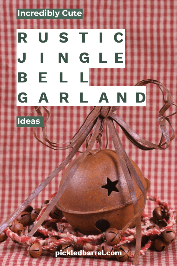 Pickled Barrel loves Christmas and all things rustic. That's why we want to share with you this darling DIY rustic jingle bell garland idea. Whether it gets wrapped around your tree, door, or hung from the fireplace mantel, you will surely create a holiday feel. Jingle bells just seem to do that. We provide easy to follow instructions and materials needed so this is a win win project for DIY enthusiasts. They also make great gifts. For more info, keep reading. #DIYjinglebellgarland #rusticholidaydecor