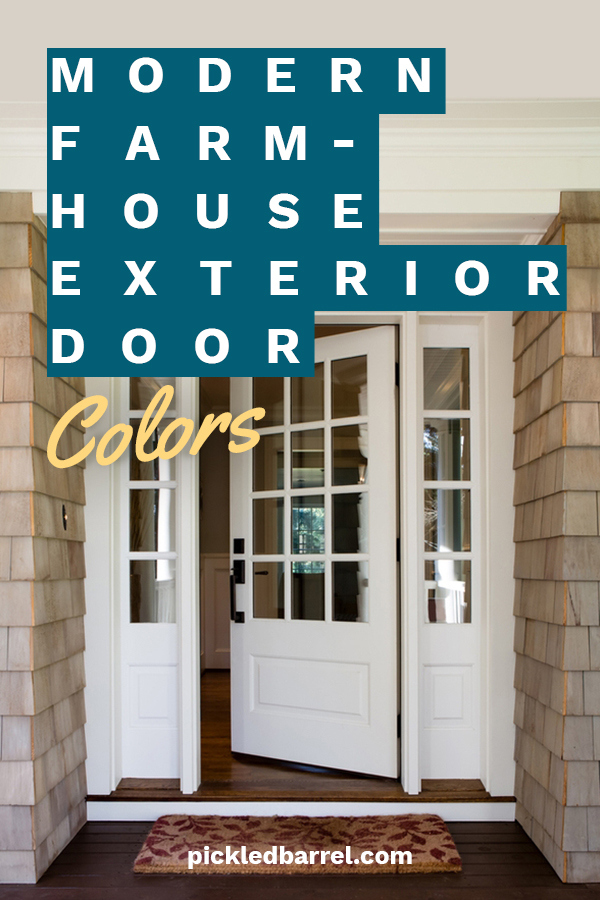 I love the modern farmhouse look. And I love them when they front door pops with color. It makes the house so welcoming. If you are wondering what colors work well for a modern farmhouse exterior door, make sure to keep reading. Let us know which color is your favorite. #modernfarmhouse #paintcolorsformodernfarmhousedoor #exteriordoorpaintcolors