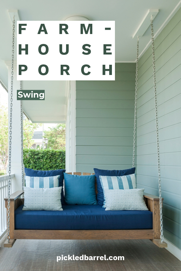 I don't think there is anyone who doesn't like a porch swing. They are the best place to sit and relax on summer day with book or drink in hand. Maybe even both. If you have wanted a porch swing for years, we have some easy to follow farmhouse porch swing DIY plans. Ideas from Ana White, plans to build them, hanging ideas and even what types of cushions to use can be found by reading on. Read on for that long awaited porch swing. #DIYporchswing #farmhouseporchswingDIY #porchswingplans