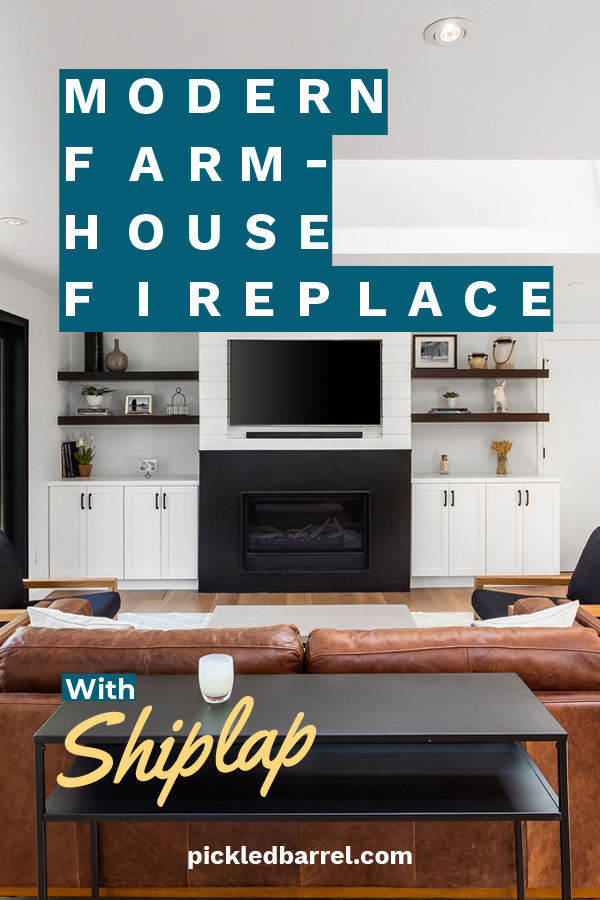 A modern farmhouse fireplace wouldn't be legit without shiplap, right? Of course it wouldn't. If you want to create this look. we have a few design styles for you to choose from. Keep reading to find a look that would work for your fireplace. #homedesignideas #homedecor #shiplapideasforfireplaces