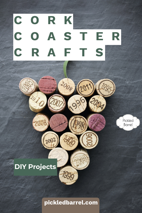 Cork coaster crafts made with upcycled wine corks are interesting and fun DIY projects to make. Here are 4 ideas to inspire you! #pickledbarrelblog #corkcoastercrafts #winecorkcrafts