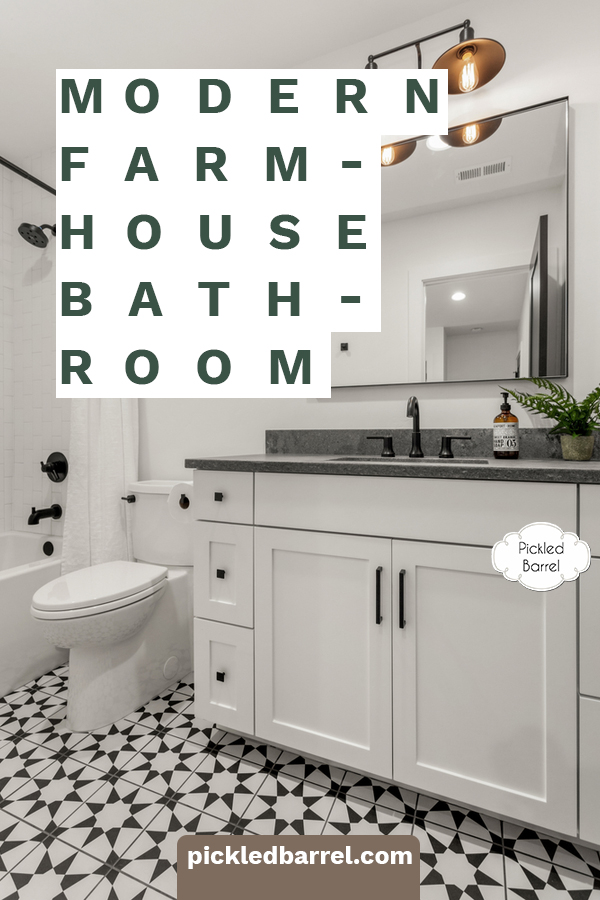 Modern farmhouse bathroom ideas to inspire your next makeover. Inspiration in classic black and white, neutrals, and unexpected accessories. #pickledbarrelblog #modernfarmhousebathroomideas