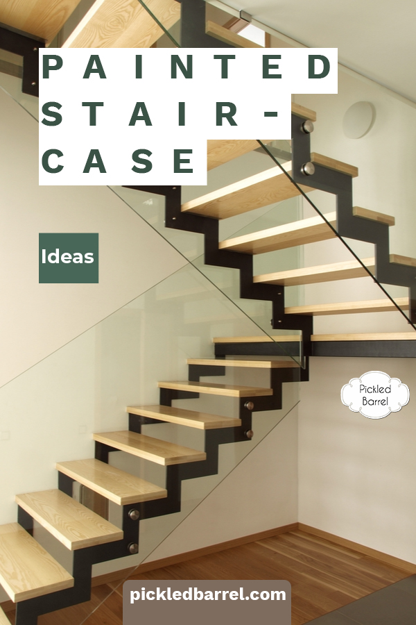 Painted staircase ideas to inspire your staircase makeover. Painting a staircase is an inexpensive way to give it an entirely new look! #pickledbarrelblog #paintedstaircaseideas