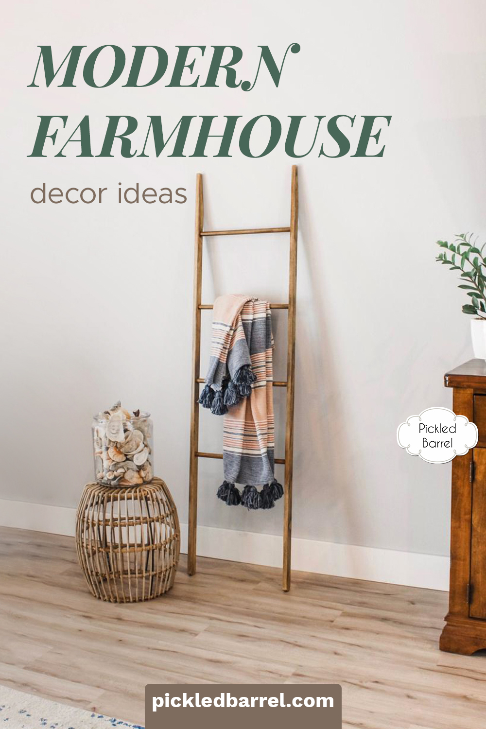 Modern farmhouse decor ideas for every room in your home. This list is full of ideas that work in more than one room, and links to help you find the items quickly and painlessly! Get ready to decorate! #pickledbarrelblog #modernfarmhousedecorideas