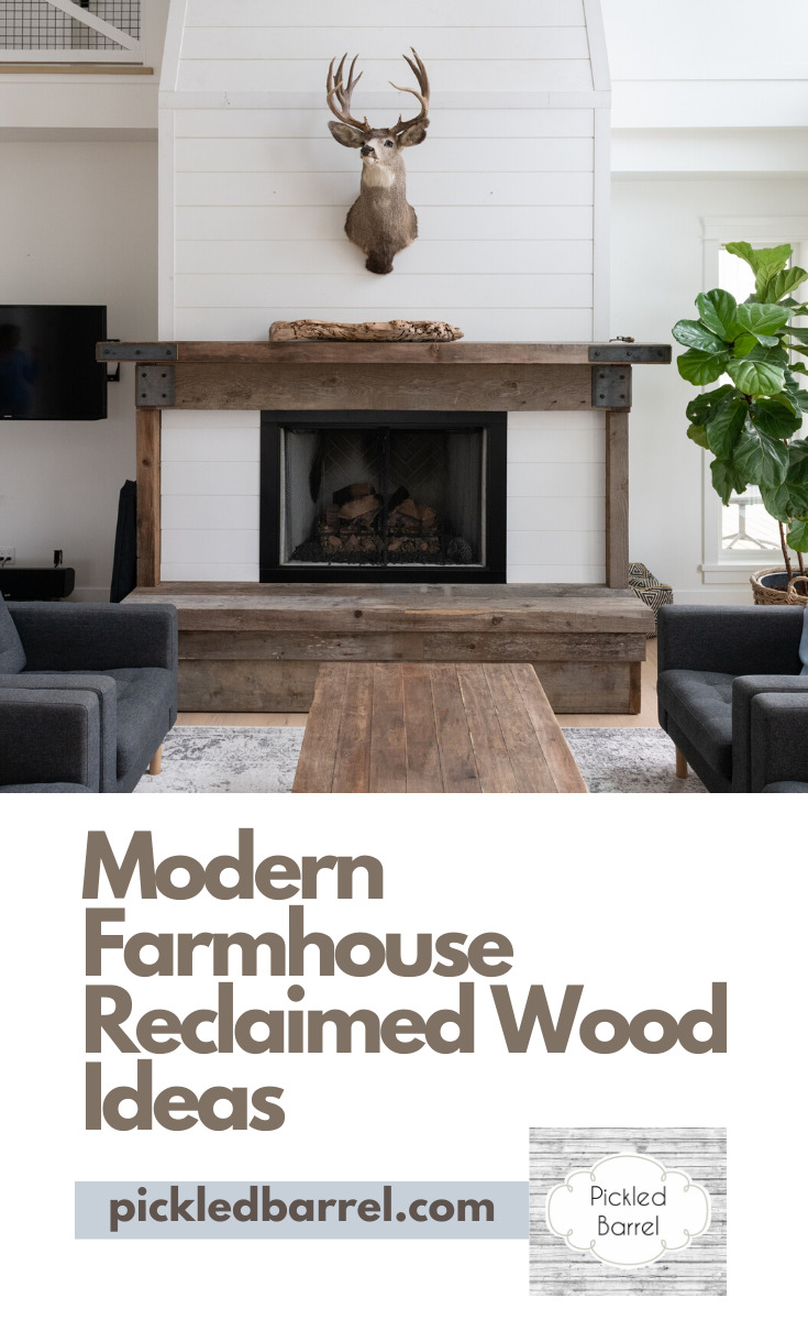 One thing I love about the farmhouse look is reclaimed wood. There is just something about it that screams cozy. If walls could talk comes to mind. Take a look at these gorgeous reclaimed wood ideas for Modern farmhouses. Read the post for ideas in the bathroom, entryway and more. #modernfarmhouse #reclaimedwoodideas #rusticfarmhouse #pickledbarrelblog