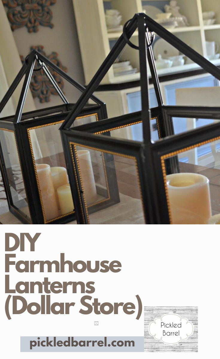 Got $5? You will be surprised what you can make with $5 of materials from the Dollar Store! For one, you can make some awesome Farmhouse Lanterns. Your friends will think you paid $150 for them. (And I promise I won't tell them otherwise!) #pickledbarrelblog #diyfarmhouselantern #diyproject