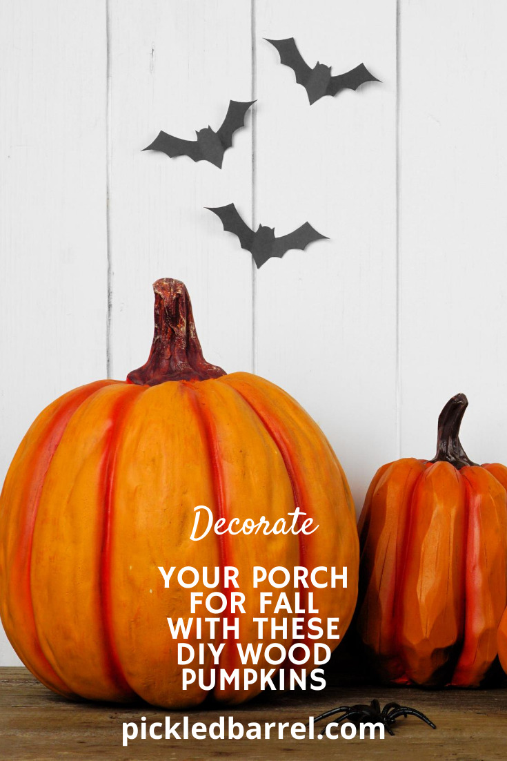 Looking for some easy DIY Fall decor? These DIY wood pumpkins are simple and so cute and look amazing on your front porch. Tell learn more about these fall decor ideas, read the post an subscribe to pickledbarrel.com for more rustic DIY and farmhouse ideas. #falldecor #porchdecoratingideas #pickeledbarrelblog