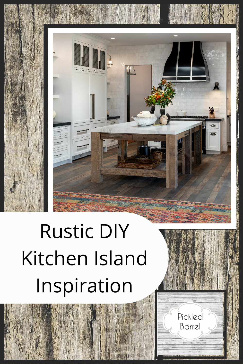 Pickledbarrel.com has the best ideas for a home with rustic charm. Find tons of inspo and DIYs to create the perfect farmhouse-style space. Create your own rustic kitchen island with these ideas!