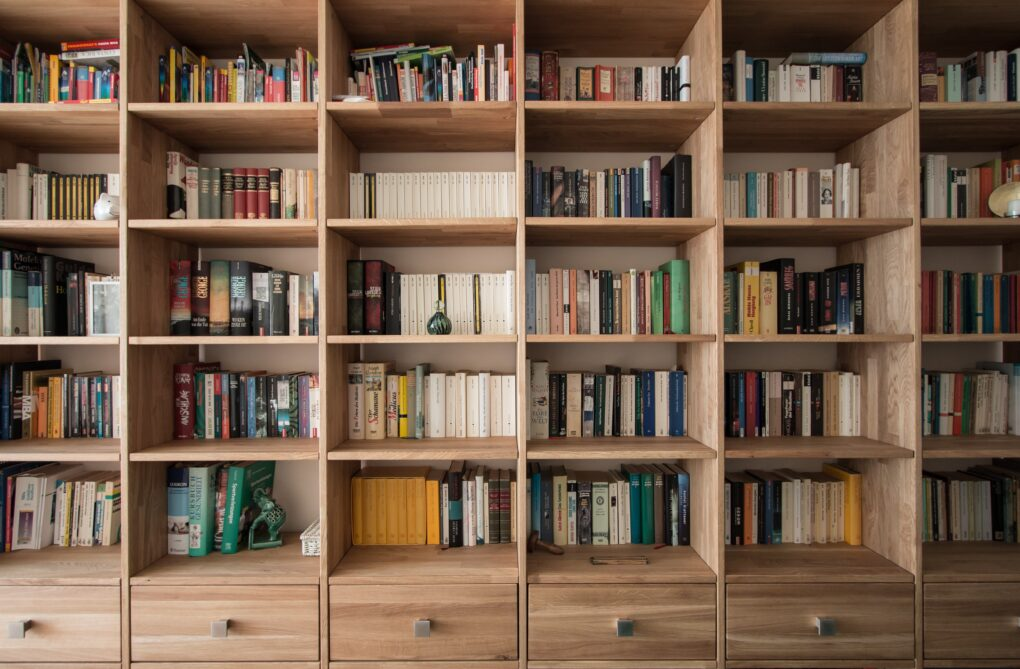 Farmhouse bookshelf with drawer