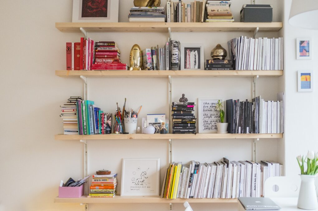 Farmhouse bookshelf with drawers