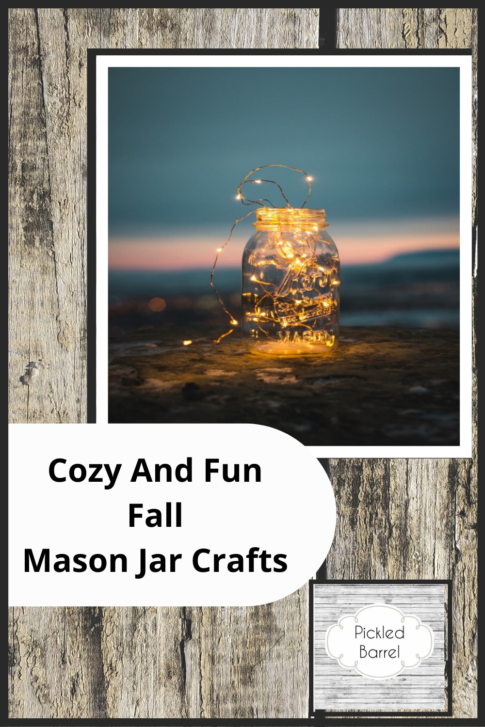 Pickledbarrel.com is the ultimate resource for all things rustic and farmhouse! Make sure every activity this fall is perfectly cozy! Try these fun and easy crafts using mason jars!