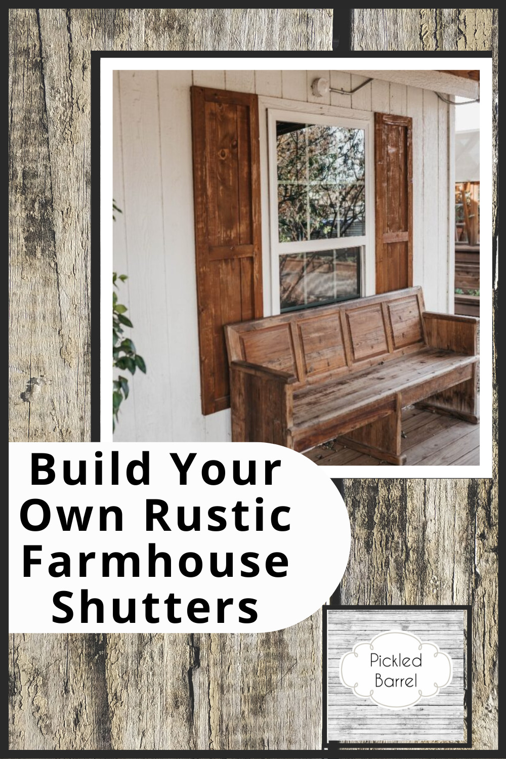 Pickledbarrel.com is the best source for farmhouse style, rustic decor, and simple upcycling ideas! Add some DIY charm to your home! Learn how you can make your own rustic exterior shutters today!