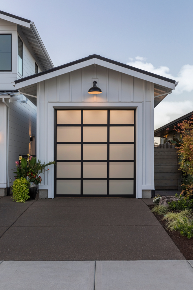 garage with white doors